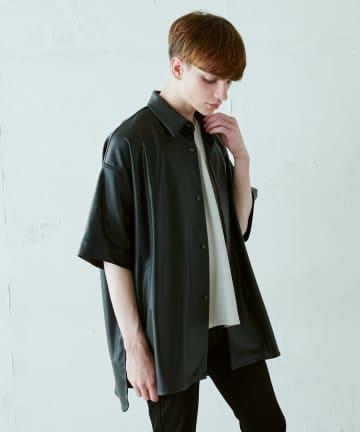 Lui's(ルイス) ウォッシャブルフェイクラムスキン スリット5分袖ビッグシャツ
