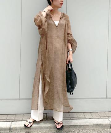 SHENERY(シーナリー) 【WEB限定】シャーリングプリントワンピース