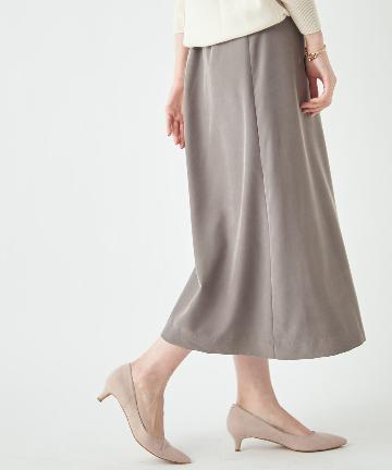 OUTLET premium(アウトレット プレミアム) 【《上品なリラックス感が魅力》】パウダリーポプリンAラインスカート