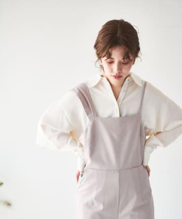 natural couture(ナチュラルクチュール) 【大人ナチュ】サテンパイピングブラウス