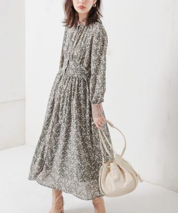 natural couture(ナチュラルクチュール) 配色花柄レディワンピース