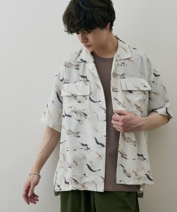 Discoat(ディスコート) ニュアンス柄オープンカラーシャツ