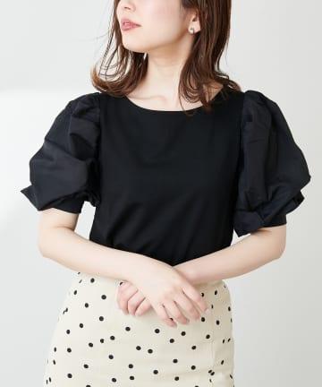 natural couture(ナチュラルクチュール) 【WEB限定】シアースリーブボートネックトップス