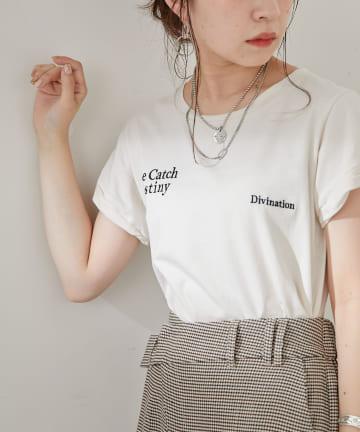 who's who Chico(フーズフーチコ) ロゴ刺繍チビTシャツ