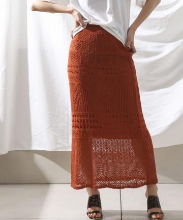 Thevon(ゼヴォン) 透かし編みニットタイトスカート