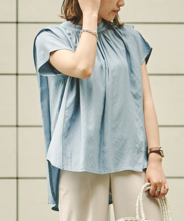 Chez toi(シェトワ) 【WEB限定】配色ステッチサイドフリルチュニックブラウス