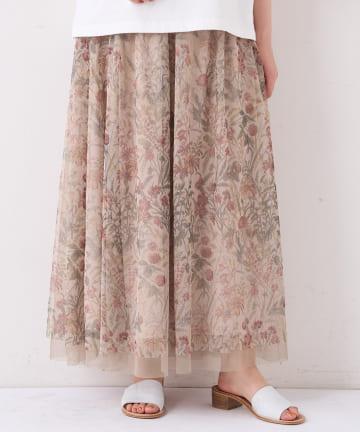 BEARDSLEY(ビアズリー) 花プリントチュールスカート