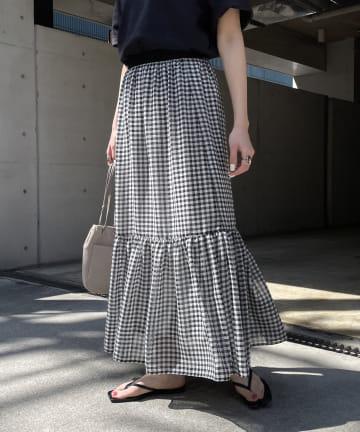 CAPRICIEUX LE'MAGE(カプリシュレマージュ) ギンガム裾ギャザースカート