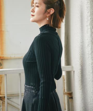 RIVE DROITE(リヴドロワ) 【着るだけで女性らしいシルエットが決まる】シルクカシミヤリブニット
