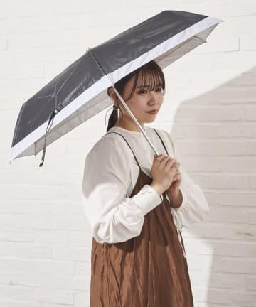 salut!(サリュ) 日傘折りバイカラー切継(ブラック)