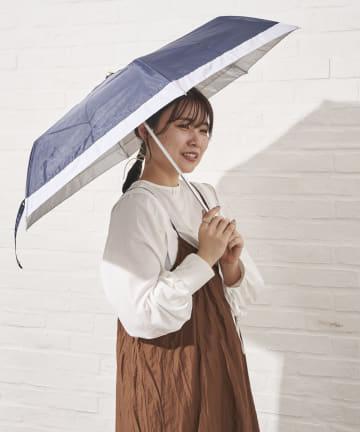 salut!(サリュ) 日傘折りバイカラー切継(ネイビー)