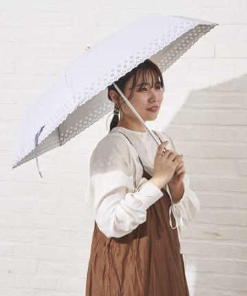 salut!(サリュ) 日傘折りフラワーヒートカット(アイボリー)