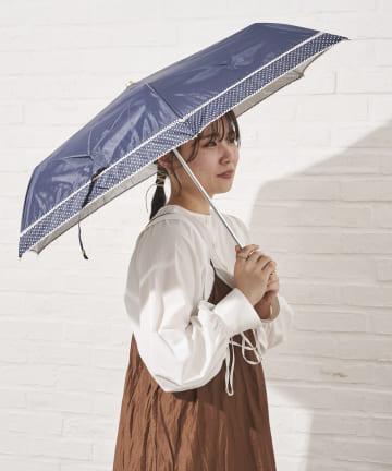 salut!(サリュ) 日傘折りピコレース切継(ネイビー)