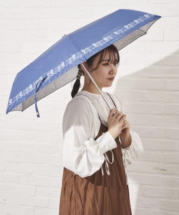 salut!(サリュ) 日傘折り鳥と花(ネイビー)