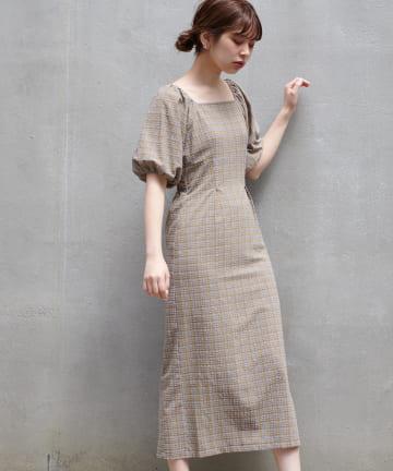natural couture(ナチュラルクチュール) 【WEB限定カラー有り】ぽこぽこチェックなセミタイトワンピース