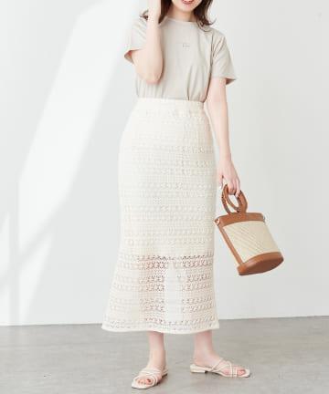 natural couture(ナチュラルクチュール) 透かし編みレーススカート