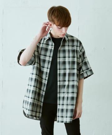 Lui's(ルイス) 5分袖チェックライトシャツ