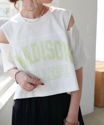 Discoat(ディスコート) カレッジロゴ肩開きショートTシャツ