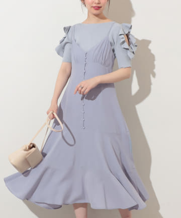 natural couture(ナチュラルクチュール) 【WEB限定カラー有り】サテンストライプキャミワンピース