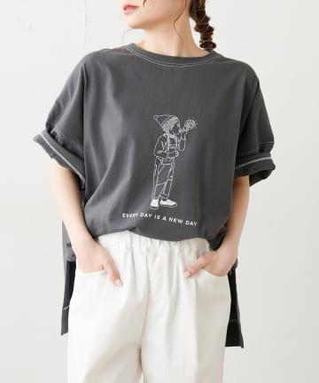 pual ce cin(ピュアルセシン) 配色ステッチプリントシャツ