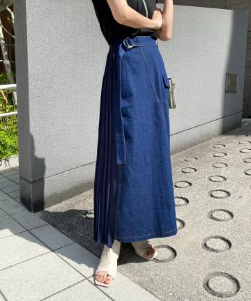 CAPRICIEUX LE'MAGE(カプリシュレマージュ) プリーツ切替カーゴデニムスカート