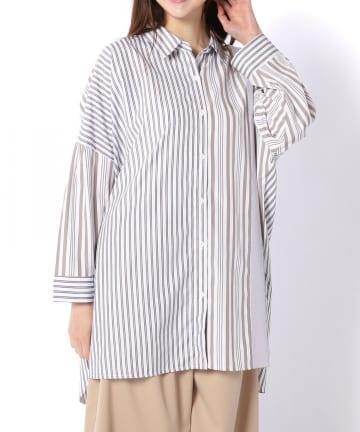 Pal collection(パルコレクション) 《ばさっと羽織れる涼し気シャツ》ストライプパッチワークシャツ