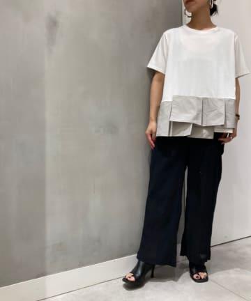 Pal collection(パルコレクション) 《なめらかな肌触りがヤミツキ》布帛ドッキングTシャツ
