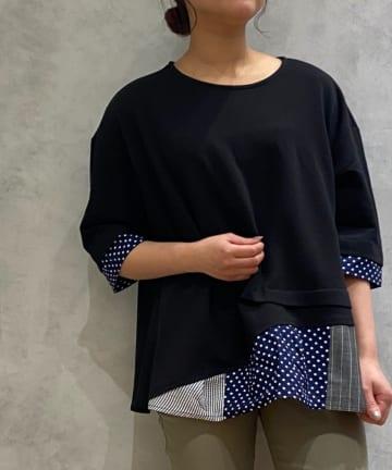 Pal collection(パルコレクション) 《欲張りドット&ストライプ》パッチワークTシャツ