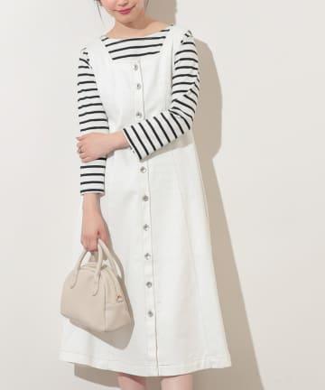 natural couture(ナチュラルクチュール) 【WEB限定】バックリボンフロント釦フレアワンピース