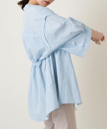 Kastane(カスタネ) ノーカラーリネンビッグシャツ