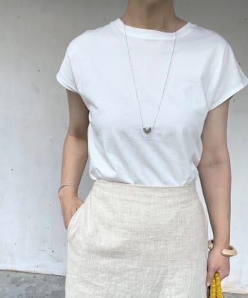 Omekashi(オメカシ) オーガニックコットンフレンチスリーブTシャツ