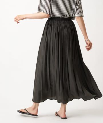 RIVE DROITE(リヴドロワ) 【柔らく軽やかな印象】レーヨン混ギャザースカート