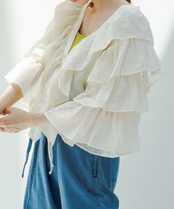 Kastane(カスタネ) 袖フリル編み上げボレロ