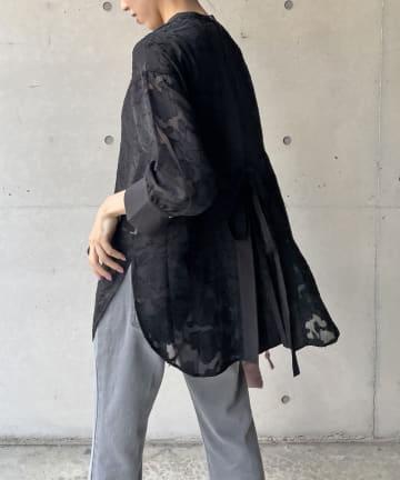 CAPRICIEUX LE'MAGE(カプリシュレマージュ) 〈WEB限定〉シアージャガードバックリボンシャツ