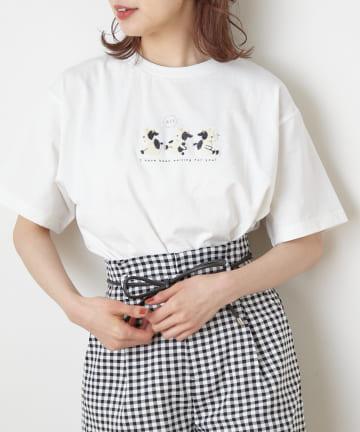 NICE CLAUP OUTLET(ナイスクラップ アウトレット) 動物刺繍Tシャツ
