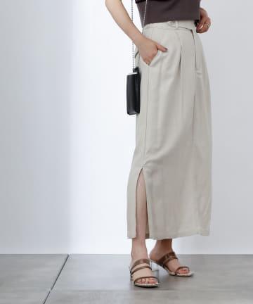 COLONY 2139(コロニー トゥーワンスリーナイン) 麻混ロングタイトスカート/サイドスリットスカート
