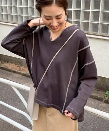 OUTLET(アウトレット) 【CIAOPANIC TYPY】配色ステッチスキッパースウェット