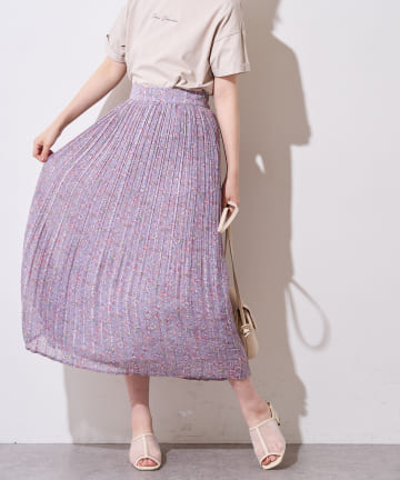 natural couture(ナチュラルクチュール) ストライプ花柄プリーツスカート