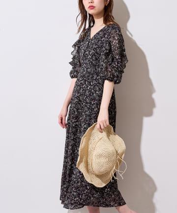 natural couture(ナチュラルクチュール) 【WEB限定】ストライプ花柄フリルワンピース