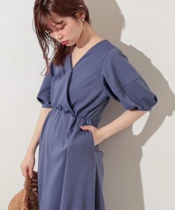 natural couture(ナチュラルクチュール) 【WEB限定カラー有り】ランタンスリーブ2WAYカットワンピース