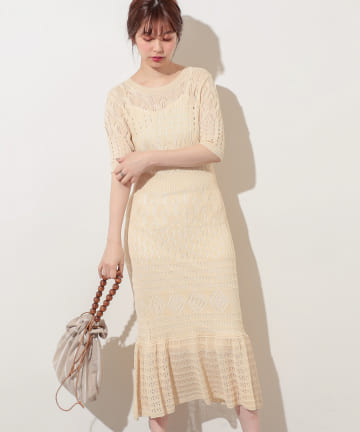 natural couture(ナチュラルクチュール) 【WEB限定】レトロ柄透かしワンピース