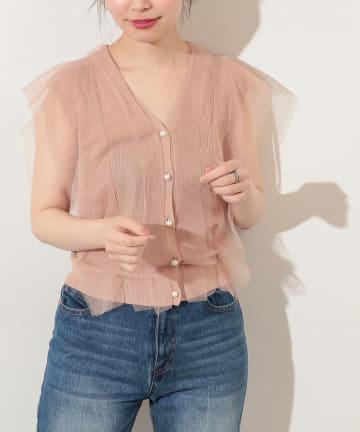 natural couture(ナチュラルクチュール) 【WEB限定】チュール重ねプルオーバー