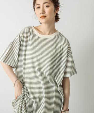 RIVE DROITE(リヴドロワ) 【ゆるシルエットでもすっきりした印象に】シアーボーダーTシャツ