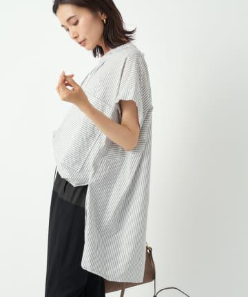 RIVE DROITE(リヴドロワ) 【程良く抜け感のあるこなれシャツ】スキッパーストライプシャツ
