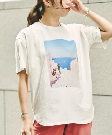 Chez toi(シェトワ) ピグメント加工フォトTシャツ