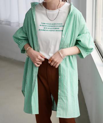 Discoat(ディスコート) 新色追加!ストライプバンドカラーシャツ≪WEB限定カラーあり≫