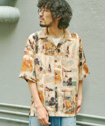 CPCM(シーピーシーエム) 総柄半袖開襟シャツ