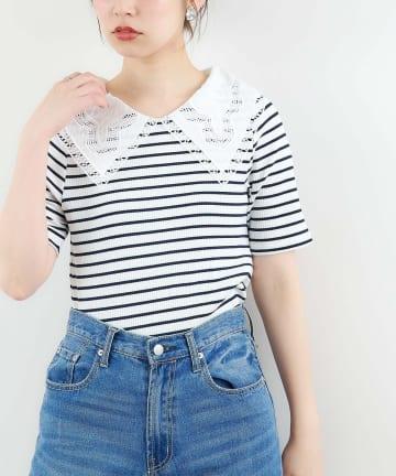natural couture(ナチュラルクチュール) ビッグ衿デザインリブトップス