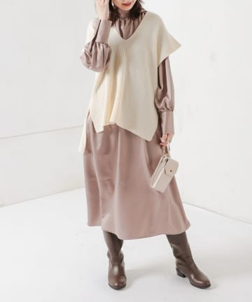 NICE CLAUP OUTLET(ナイスクラップ アウトレット) 【natural couture】ニットベスト*バックリボンワンピースセット