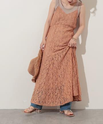natural couture(ナチュラルクチュール) 【WEB限定】細ヒモレースキャミワンピース